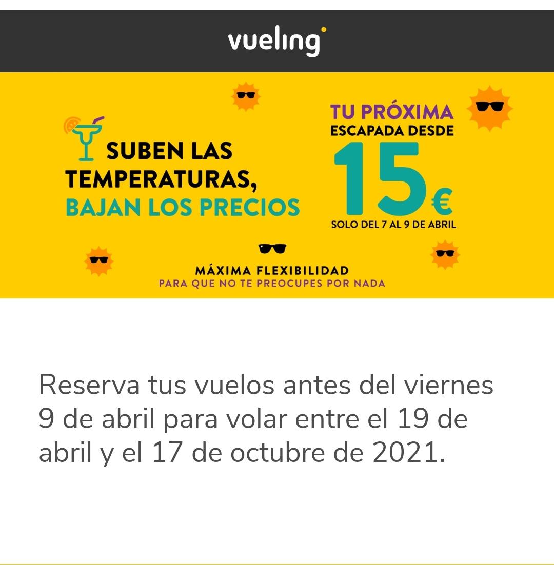 Escapadas con Vueling desde 15€ TERMINA EN 2 DIAS LA PROMO!!!