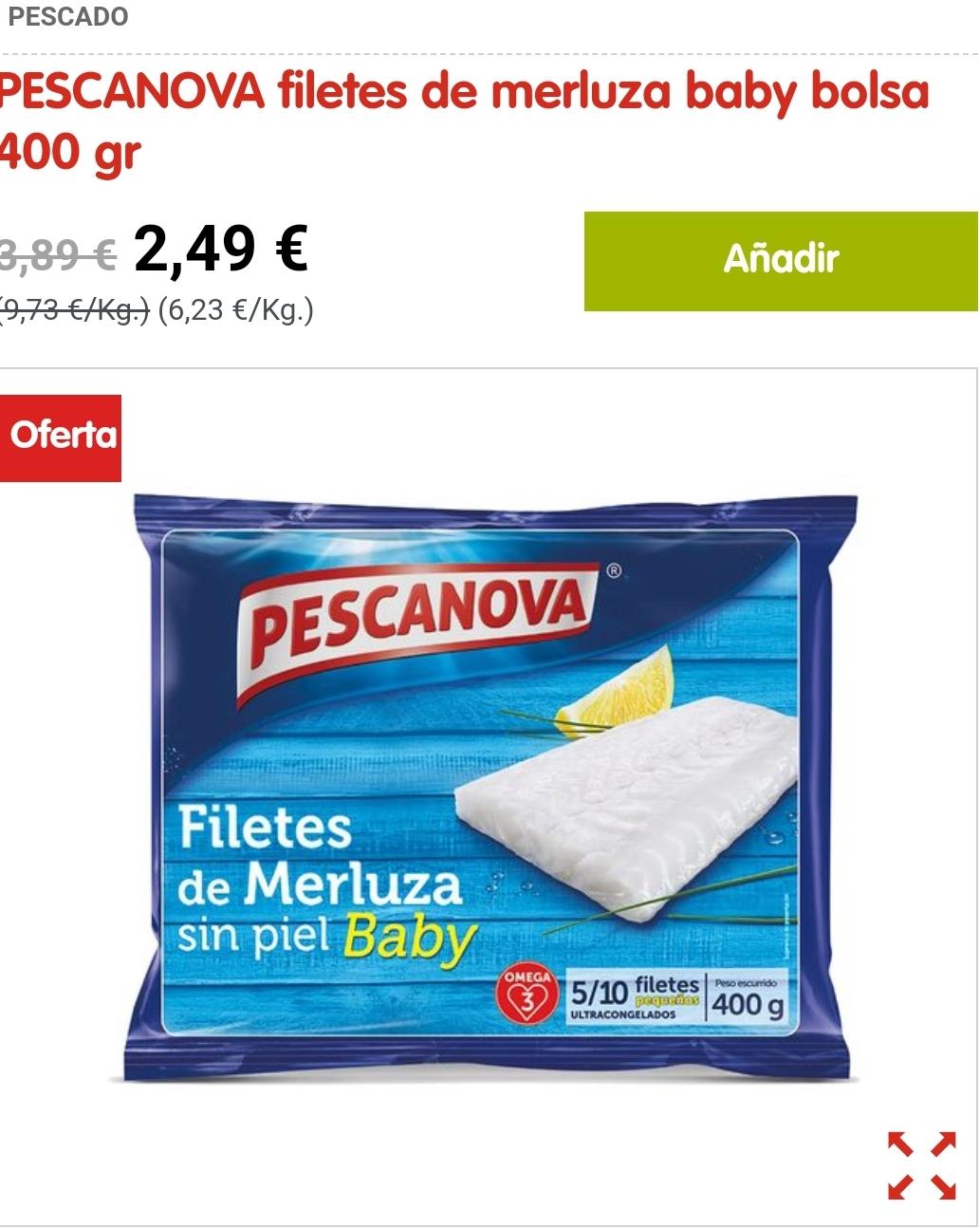 PESCANOVA filetes de merluza baby bolsa 400 gr