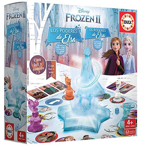 Educa Borrás-Frozen II Los Poderes de Elsa, juego de mesa con luz y sonidoy, a partir de 4 años