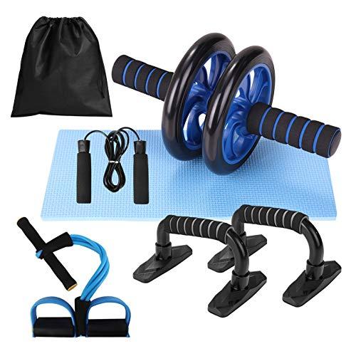 Rueda Abdominal Kit 5 en 1 con Push-UP Bar Cuerda para Saltar Esterilla de Rodilla para Entrenamiento