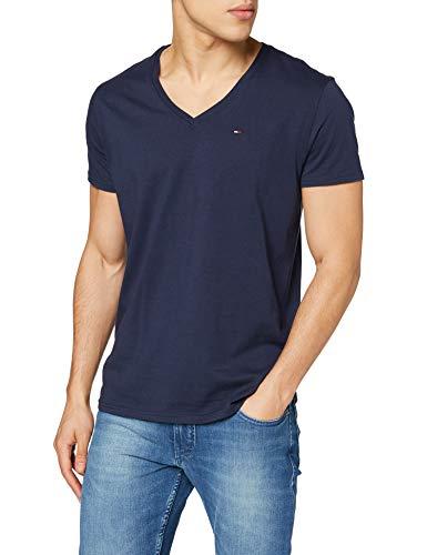 Camiseta; Tommy Jeans Tjm Original Jersey V Neck Tee Azul (Black Iris 002) (regular fit)