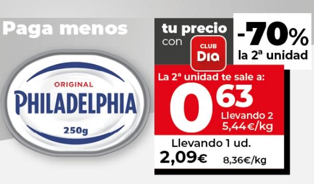 PHILADELPHIA queso para untar tarrina 250 gr. 2ª ud. -70, sale a 1,36€