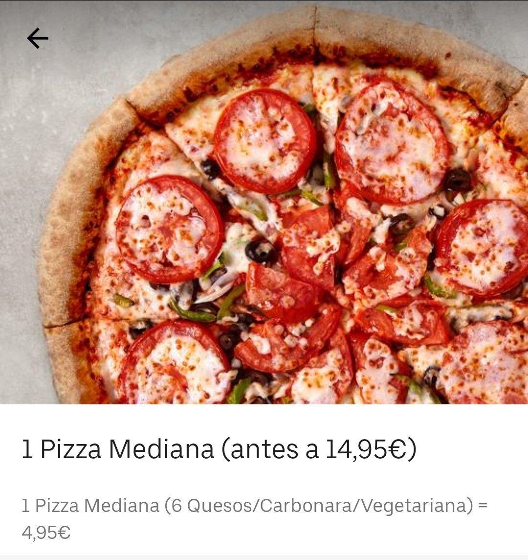 Pizza mediana 4.95 (Seis quesos, carbonara o vegetariana) - Papa Johns Uber Eats
