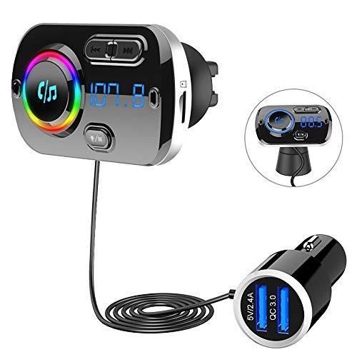 Transmisor FM Bluetooth 5.0, Bluetooth para Coche Manos Libres, cargador usb