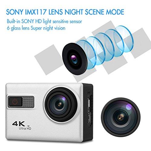 "F68 - DV Cámara Deportiva de Acción 4K 24FPS (Full HD LCD 2.0"", 170° Gran Angular, Novatek 96660, 20MP, H.264, Impermeable 30m, WIFI USB HDMI, H.264, Vision Nocturna)"