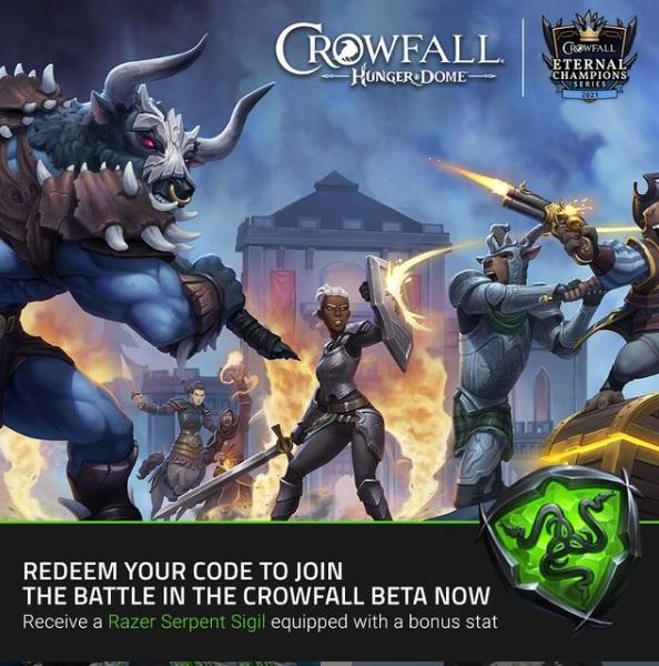 Juego Crowfall Pase Beta + Razer Ítem para el juego
