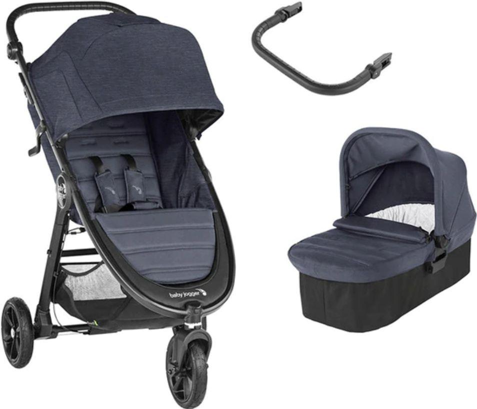 Coche de paseo dúo Baby Jogger City Mini GT2 (Capazo + Barra) Carbon negro