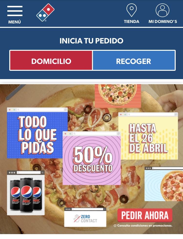 50% de descuento en tu pedido Domino's pizza.