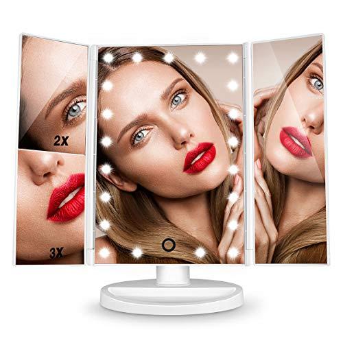 Espejo de Maquillaje 21 Leds con Aumento 1X, 2X, 3X