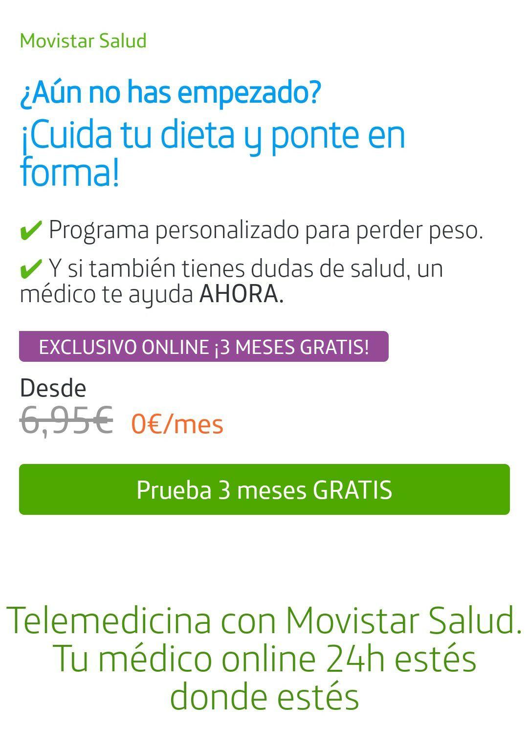 Telemedicina con Movistar Salud. Tu médico online 24h estés donde estés 3 meses gratis
