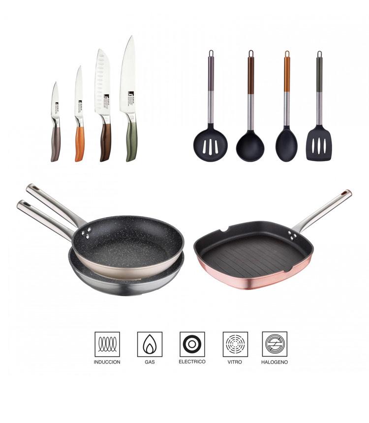 Lote de Sartenes y utensilios de Cocina BERGNER Neon 11 pzas - Multicolor