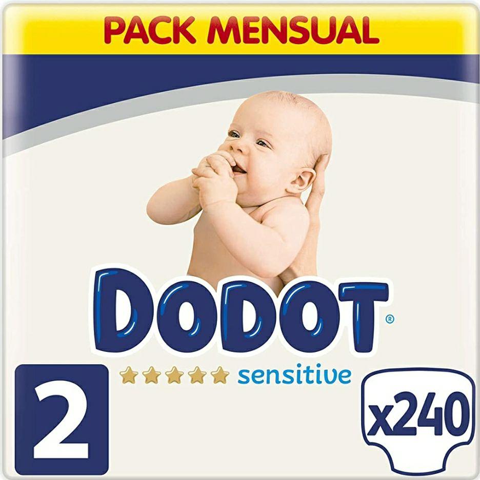 Dodot 240 Pañales Bebé Sensitive Talla 2 (4-8 kg), 240 Pañales