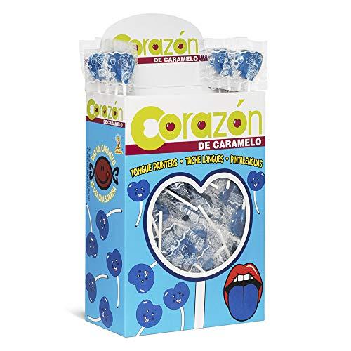 Piruleta Pintalenguas con Forma de Super Corazón Sabor Frambuesa Color Azul 100 Unidades de 13.9 g