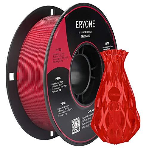 Mínimo Histórico Filamento ERYONE PETG Transparente Red 1.75 mm 1 kg.