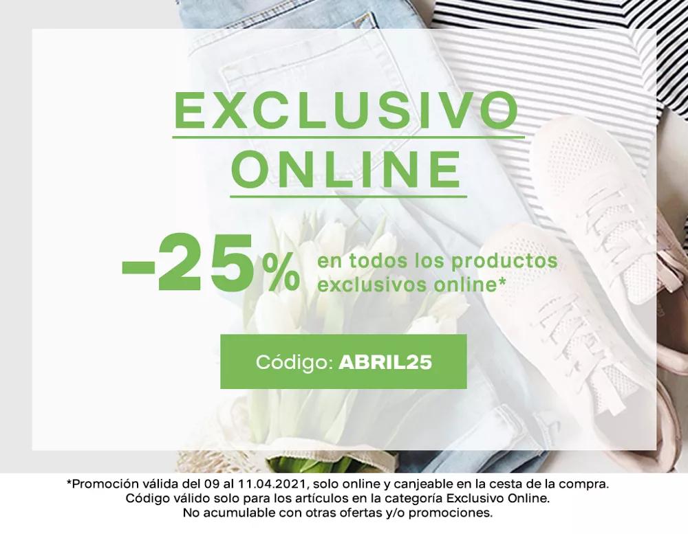 25% de Dto en productos exclusivos web