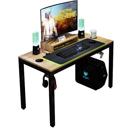 DlandHome Mesa de Juegos Pro para PC con Alfombrilla de ratón RGB LED& Soporte de Pantalla 120 * 60cm TECA/NEGRO