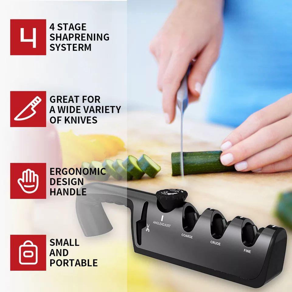 Afilador de cuchillos ajustable de 4 niveles