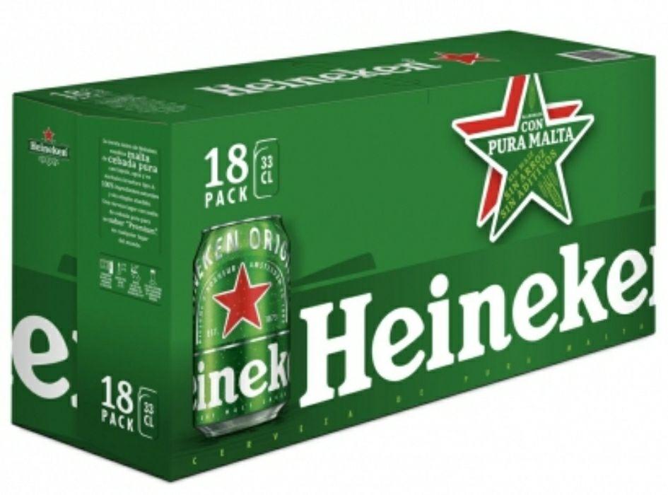 Cerveza Heineken Lager pack de 18 latas de 33 cl.