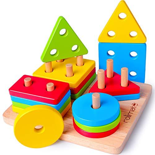 Rolimate Juguetes para Niños Pequeños Apilador Geométrico De Madera, Stack & Sort Board Tablero para Apilar y Clasificar