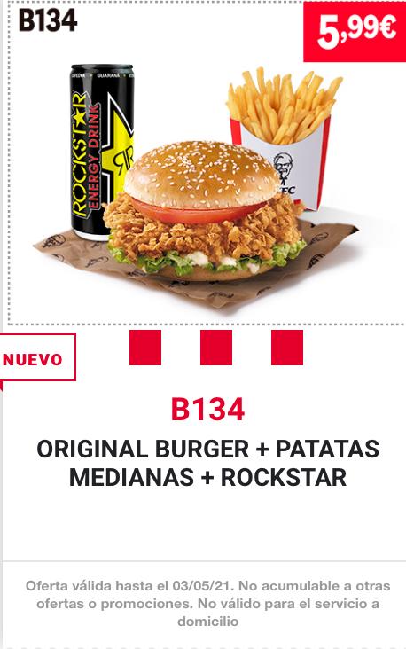 NUEVO MENÚ KFC : ORIGINAL BURGER + PATATAS MEDIANAS + ROCKSTAR