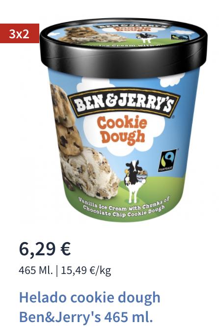 3*2 en helados ben and jerry en Carrefour