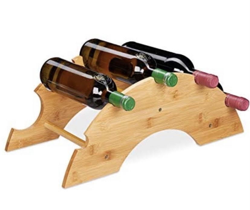 Botellero para 5 botellas en Forma de Arco, Bambú, 1 Ud, 18x48x24 cm,