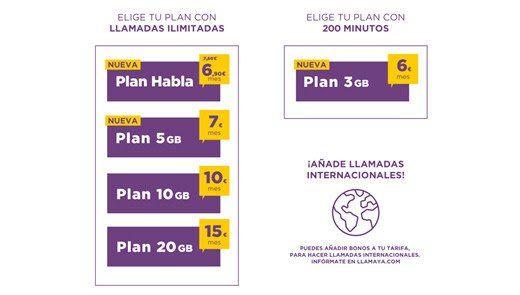 Llamaya renueva sus tarifas móviles de contrato con más y mejores opciones