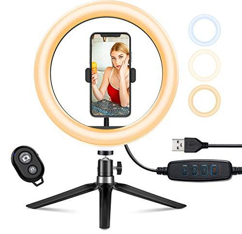 "Aro de Luz Trípode Fotografía, 10.2"" Anillo de Luz Selfie con Control Remoto 120 LED 3 Modos 11 Niveles de Luz"