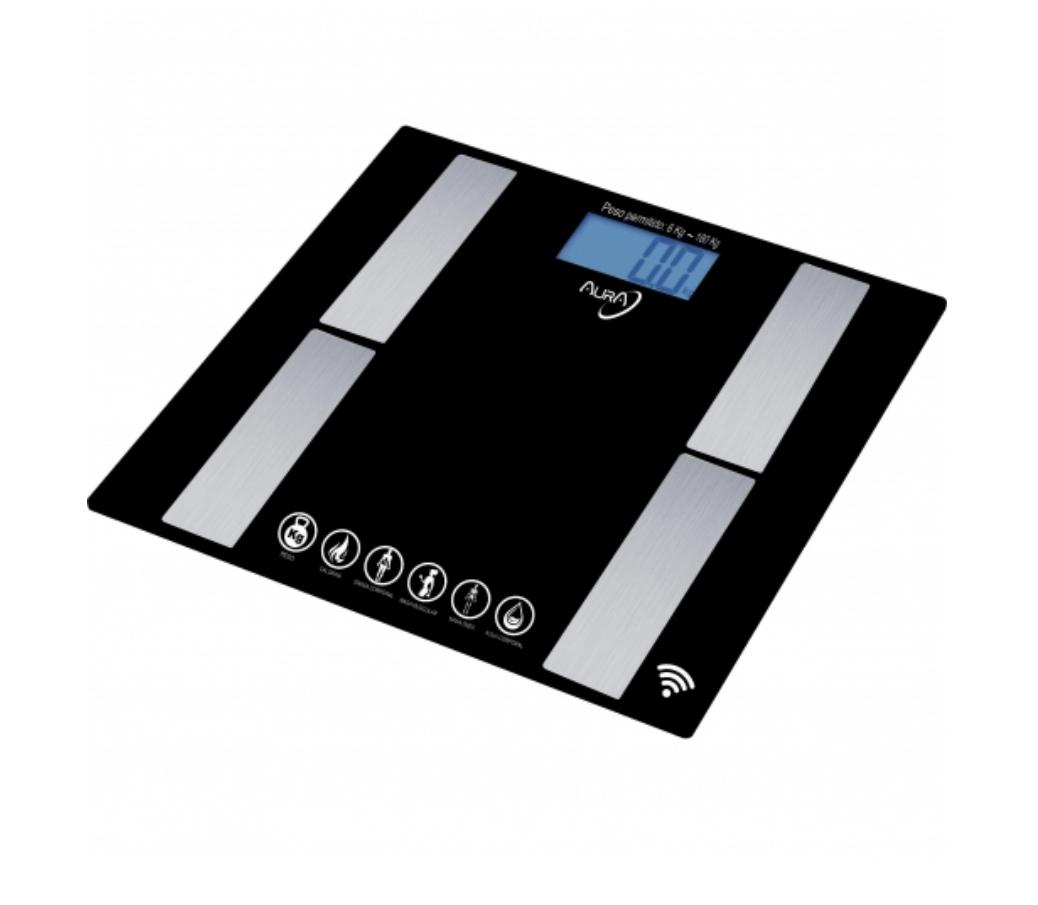 Báscula de baño Aura con función Bluetooth y App para medición de varios datos.