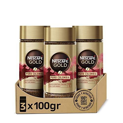 Nescafé Gold Puro Colombia Aroma y Sabor, Café Soluble 100 % Arábica