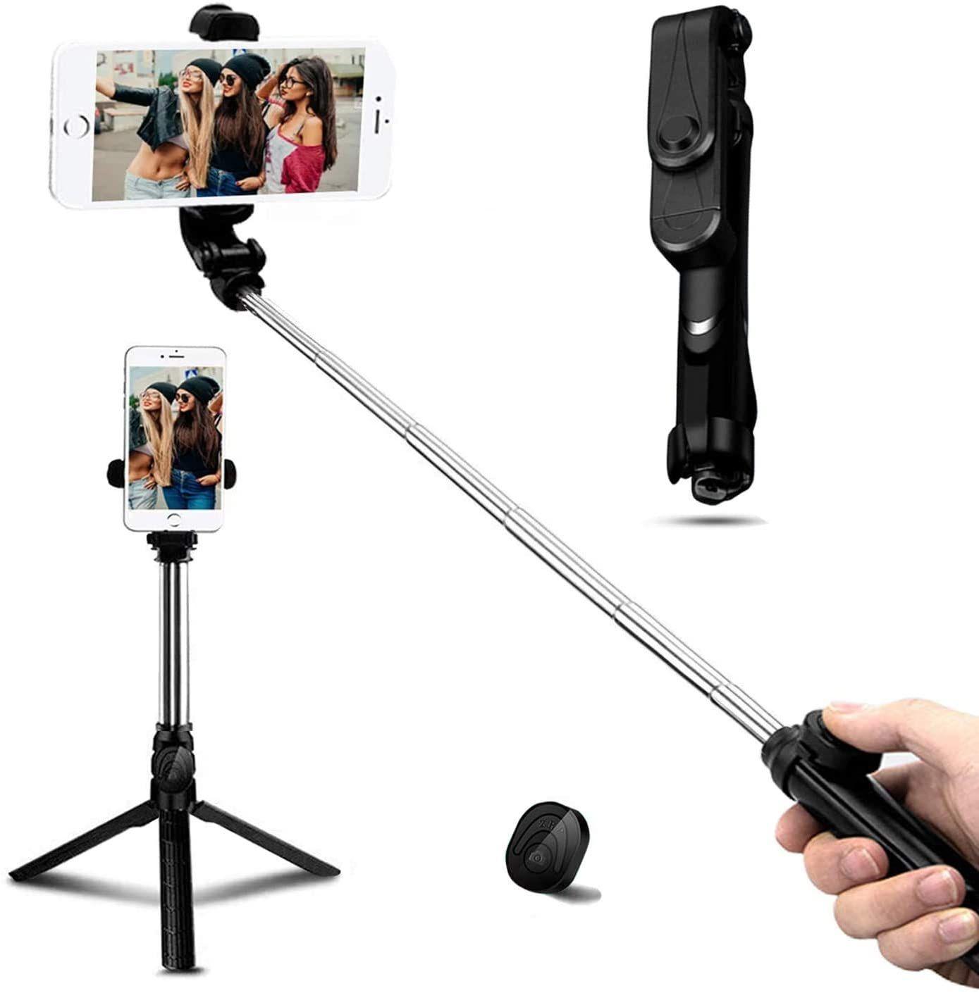 Palo Selfie Trípode, Bluetooth Selfie Stick Movil con Control Remoto 360°