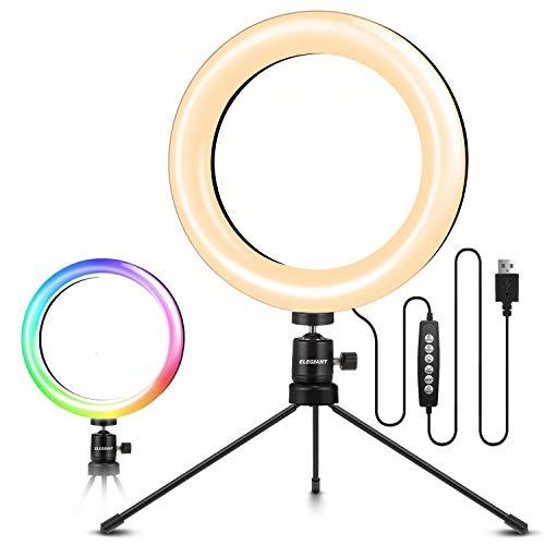 ELEGIANT Aro de Luz Trípode, Anillo de Luz LED para Móvil con 10 Colores RGB + 10 Niveles de Brillo para Fotografía