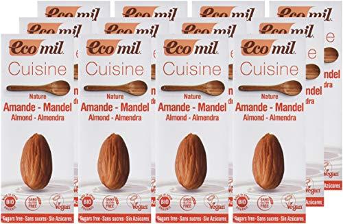 ECOMIL- Crema de Almendras para cocinar - Pack de12 unidades de 200 ml