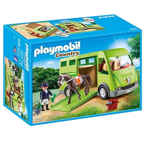 PLAYMOBIL Country Transporte de Caballo con Holstein y Jinete en traje de Adiestramiento, A partir de 5 años