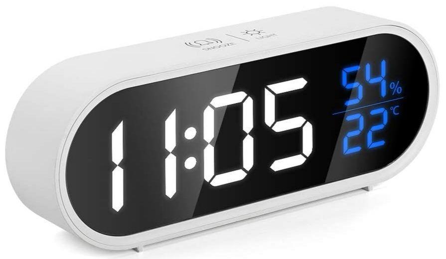 Reloj despertador de música digital LED con detección de humedad y temperatura, brillo ajustable 5 niveles