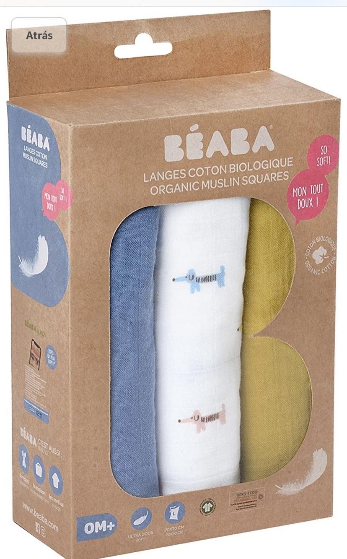 BÉABA, Pack de 3 muselinas para bebé de algodón orgánico