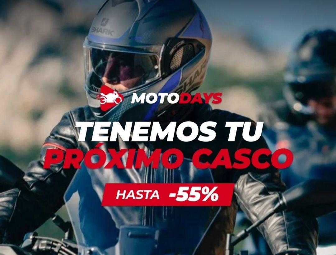 Descuentos de hasta un -55% en cascos en Motocard y -20% en artículos seleccionados.