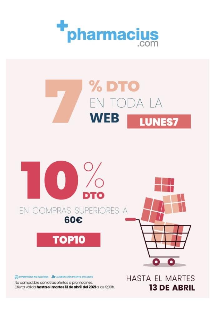 Descuentos del 7 o 10% en la web de Pharmacius