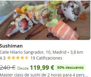 Master class de sushi de 2 horas para 4 personas con curso y degustación