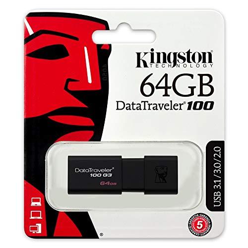 Kingston DataTraveler 100 G3 -DT100G3/64GB, USB 3.0, Flash Drive, 64 GB, Negro.