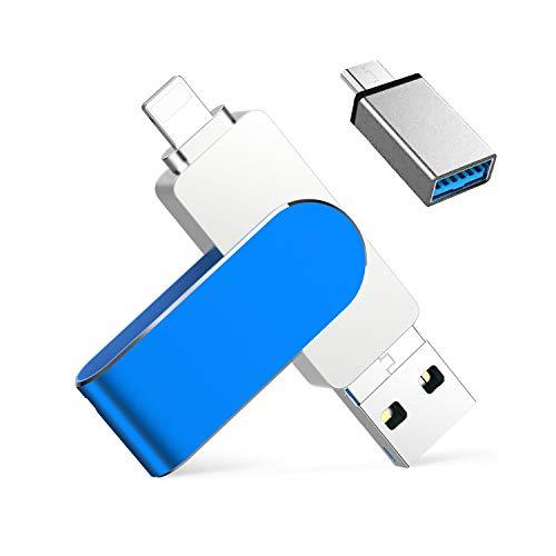 Memoria USB para iPhone 128 GB 4 en 1, extensión de memoria USB C Stick OTG