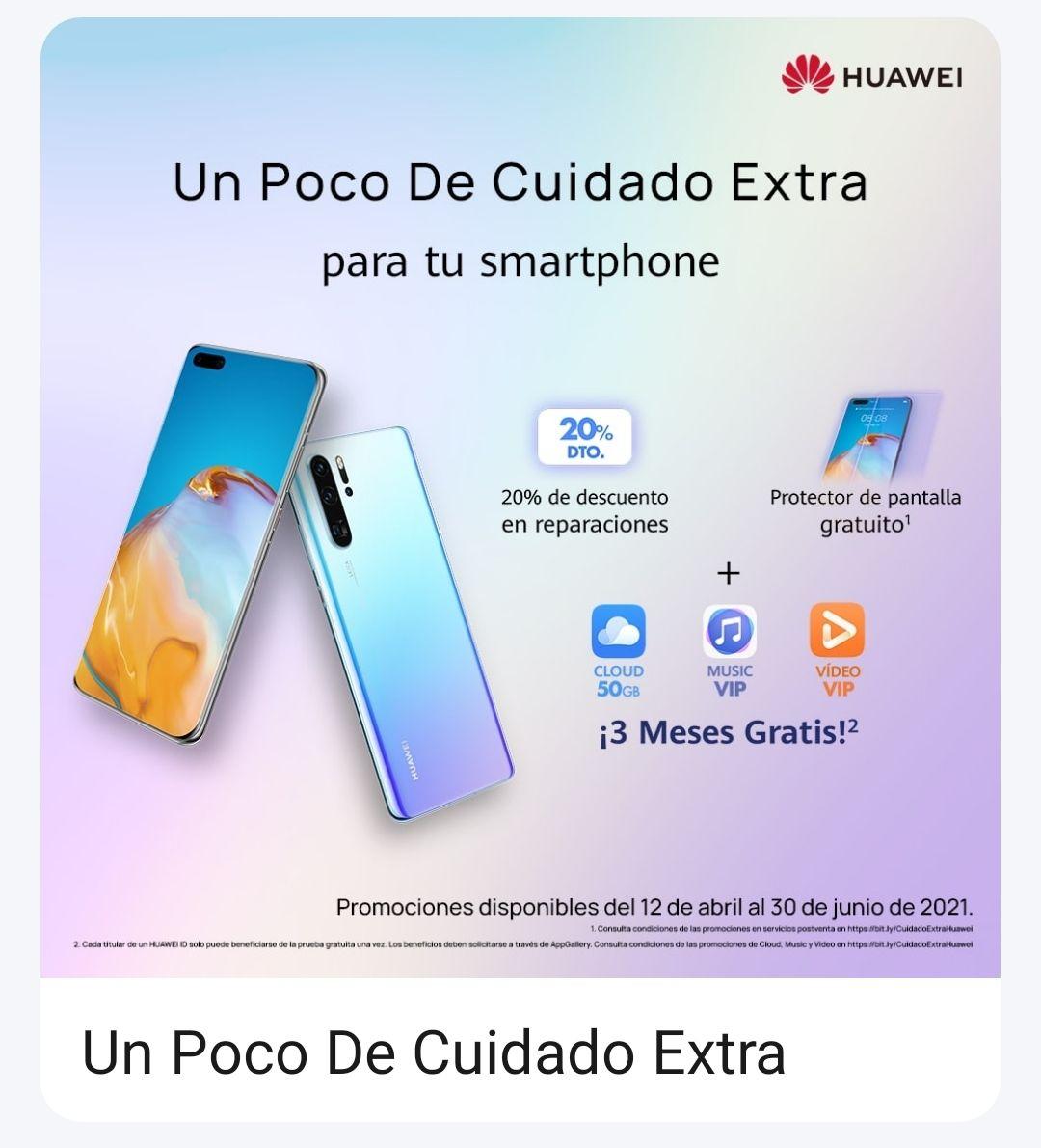 Huawei AppGallery: 6 meses extra de garantía + protector de pantalla