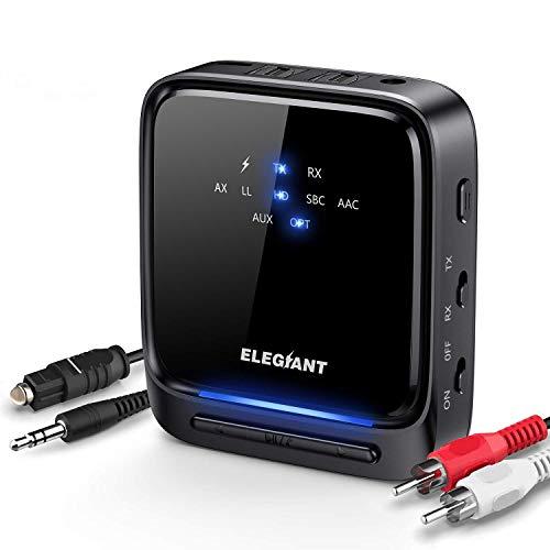 ELEGIANT Transmisor Bluetooth 5.0, Receptor Inalámbrico 2 en 1 Audio HD de Baja Latencia con Toslink Óptico/SPDIF