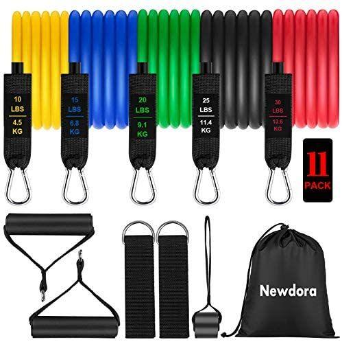 Newdora 11 PCS Bandas Elásticas de Fitness con 5 Correas