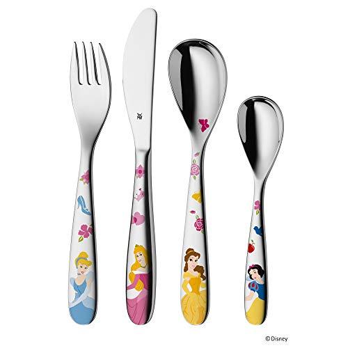 WMF Disney Princesas - Cubertería para niños 4 piezas (tenedor, cuchillo de mesa, cuchara y cuchara pequeña) (WMF Kids infantil)