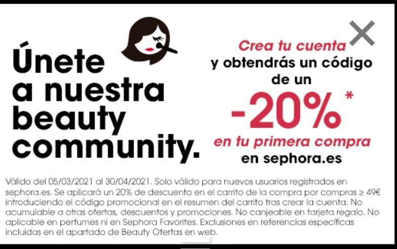 20% en tu primera compra en Sephora