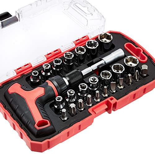 Juego de destornillador y llave de carraca en T, magnético, 27 piezas