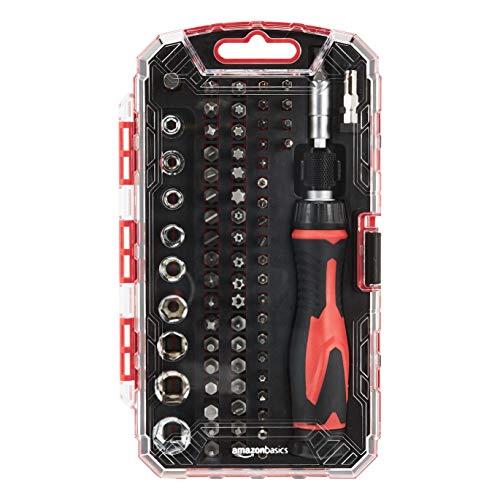 Juego de destornillador y llave de carraca, magnético, 73 piezas