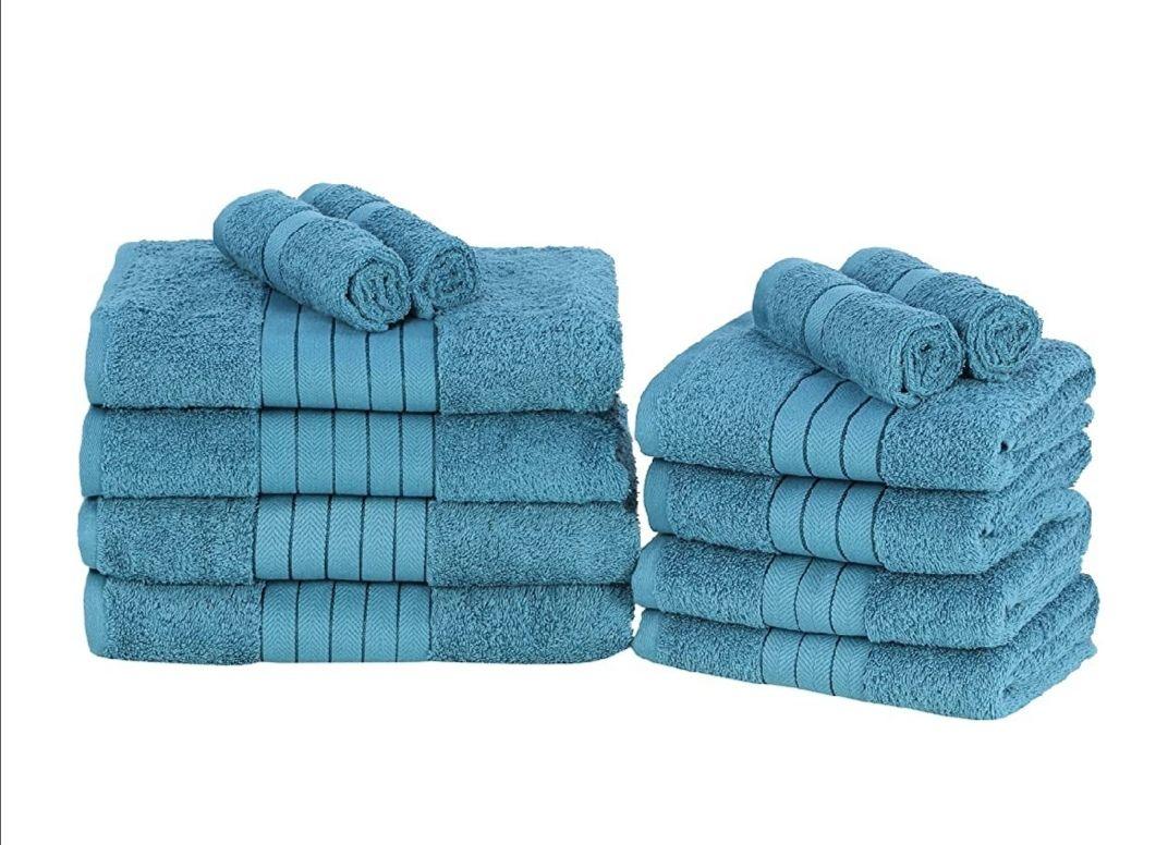 Juego 12 toallas 100% Algodón color azul