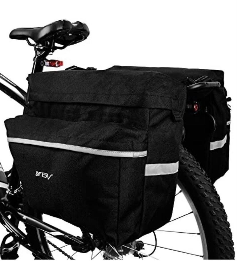 Bolsa para Bicicleta con Ganchos Ajustables, asa de Transporte, Tira 3M Reflectante y Bolsillos Grandes